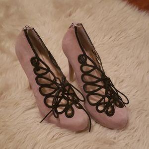 Suede black lace up front shoe